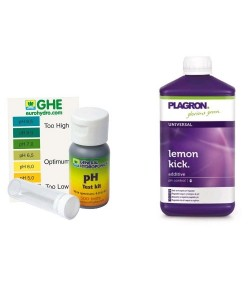 KIT CONTROLLO E CORREZZIONE DEL PH - GHE PH TEST + PLAGRON LEMON KICK 500ML